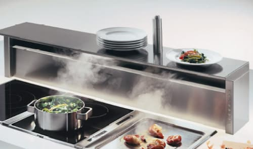 kitchen design with downdraft hood