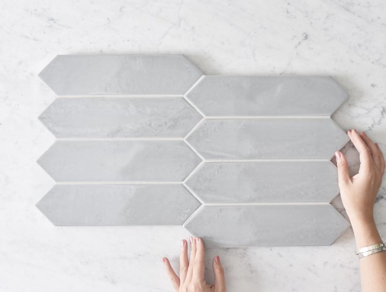 Kitchen Splashback Option: Aranda Gloss Smoke Grey Subway Tile