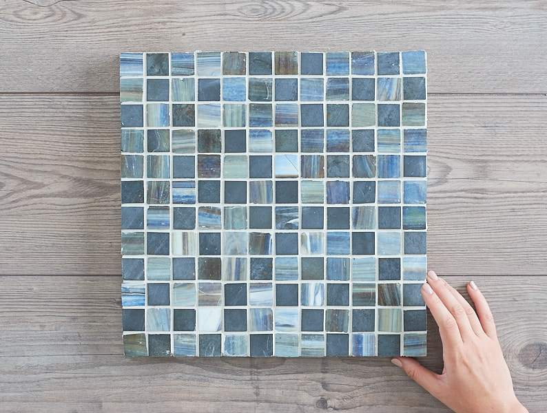 Kitchen Splashback Option: Daylesford Gloss Slate Glass Square Blue Mosaic Tile ($24/sheet) on tilecloud.com.au