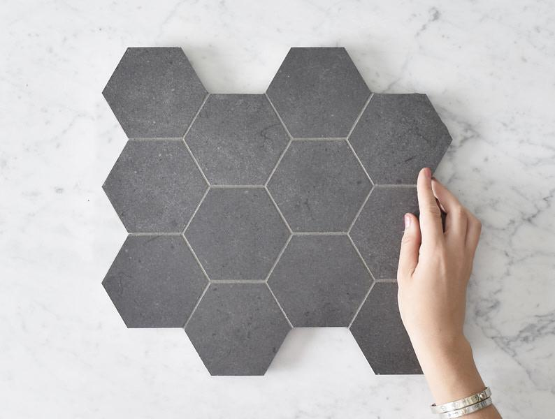 Kitchen Splashback Option Stanmore Matt Black Concrete Look Hexagon Tile ($316/m2)