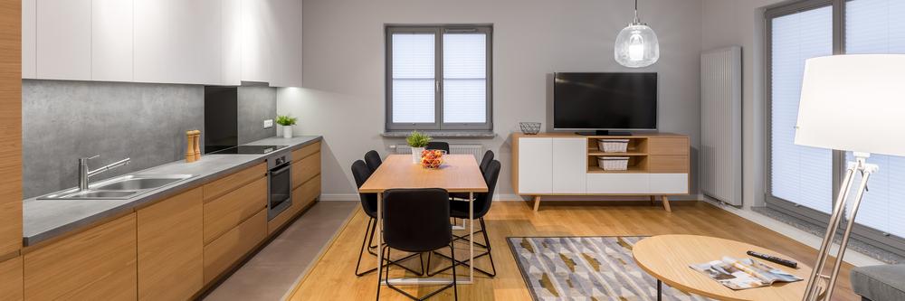 open-plan rooms