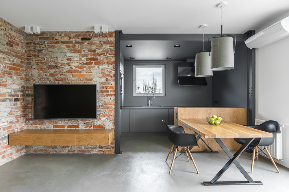 This Tiny Modern Flat Has An Interesting Brick Wall