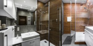 An Enchanting Grey Bathroom with a Wooden Shower