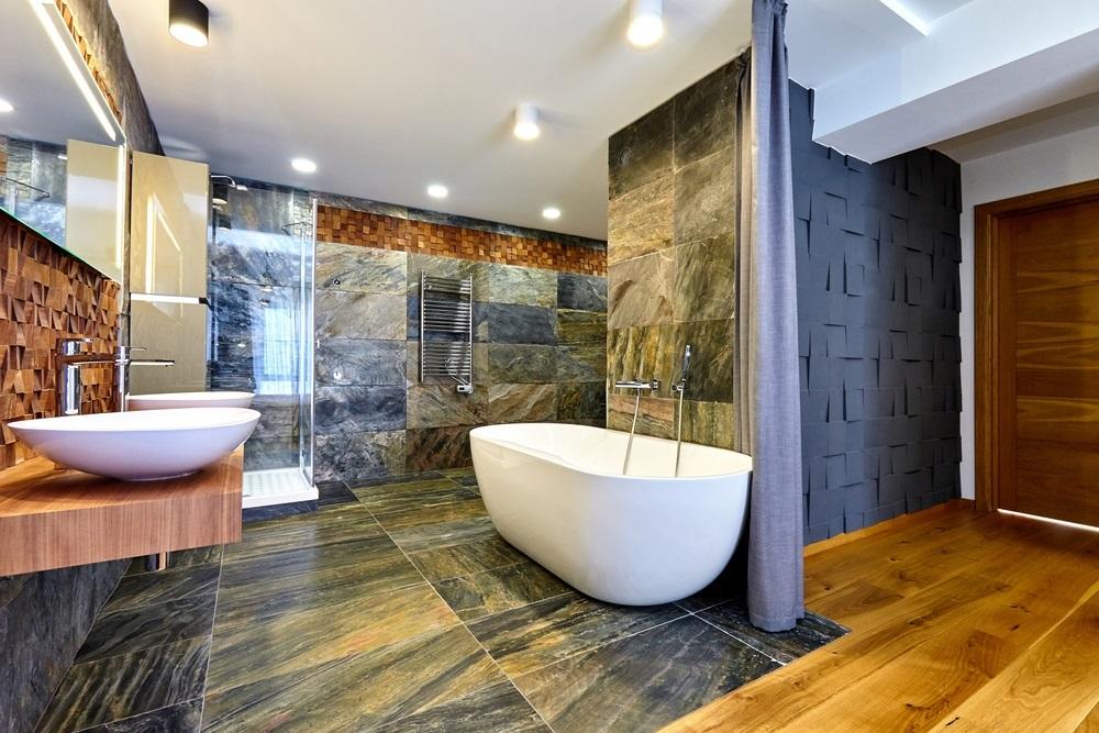 slate, engineered wood Bathroom flooring
