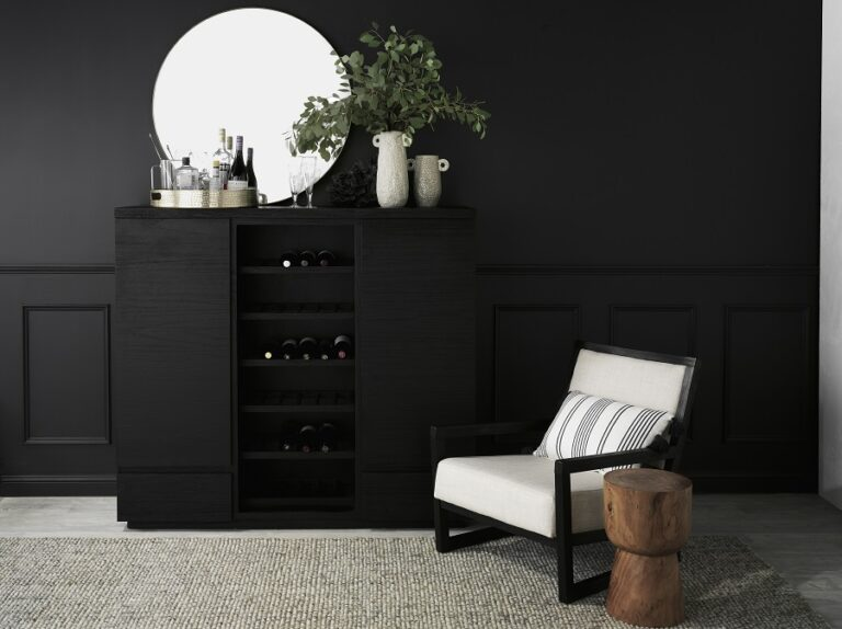 """""""We like to place the Balmain Bar Cabinet against a statement black wall, a bold design which started trending in 2015."""""""