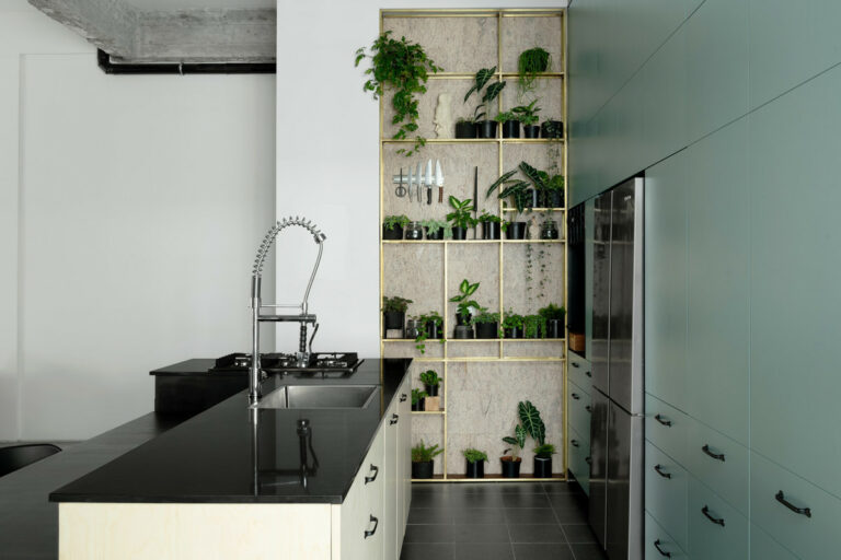 """""""This is a modern kitchen with a Caesarstone® Jet Black™ island bench, vertical herb garden and sleek green cabinetry."""""""