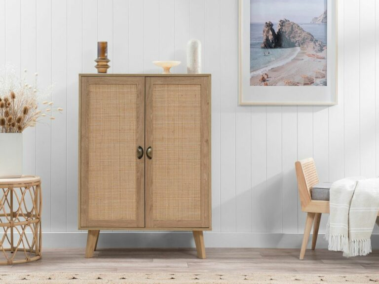 """""""Nothing beats the aesthetics of the Savannah cabinet… our favourite timber and wicker storage piece."""""""