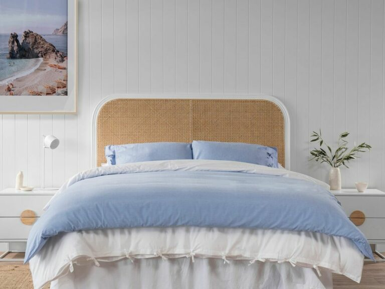 """""""The Southport Queen rattan bed head is a favourite feature to have in a beach or coastal style bedroom."""""""
