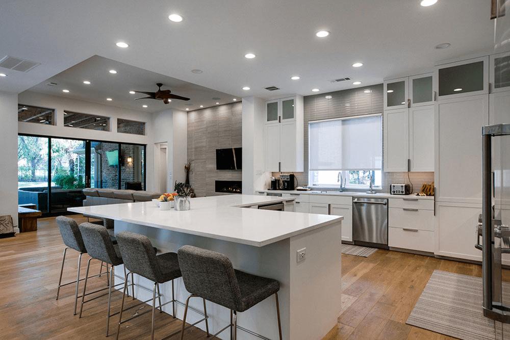 L-shaped kitchen island