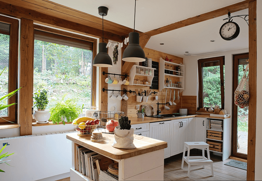 table island rustic kitchen