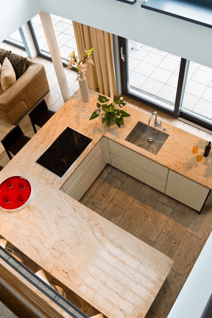 u-shaped kitchen island