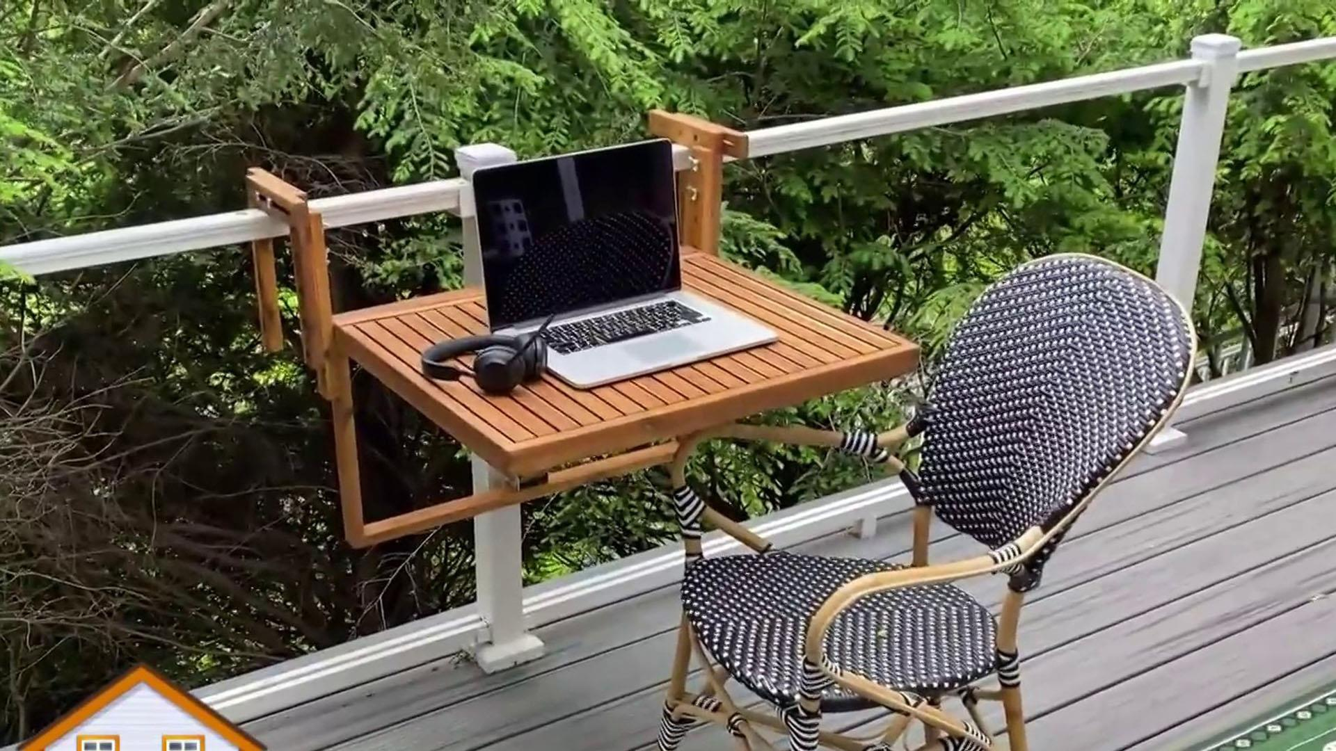 temporary mini outdoor workspace set-up