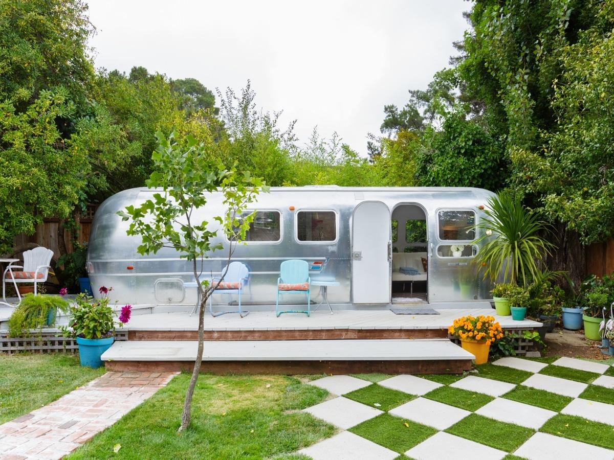 boho Airstream caravan home with deck
