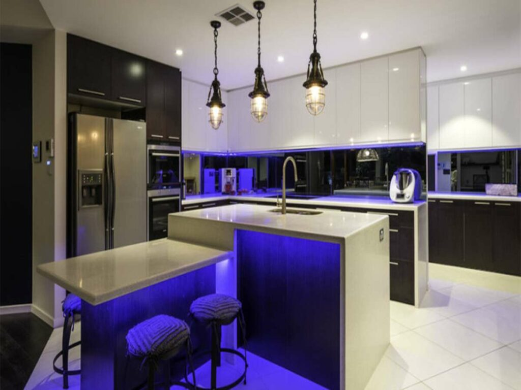 formal kitchen with white benchtops