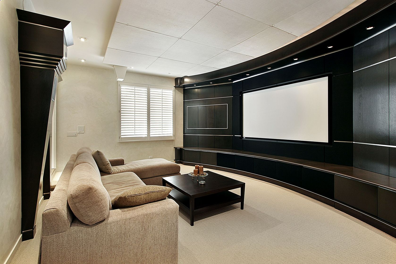 converted living area home cinema design