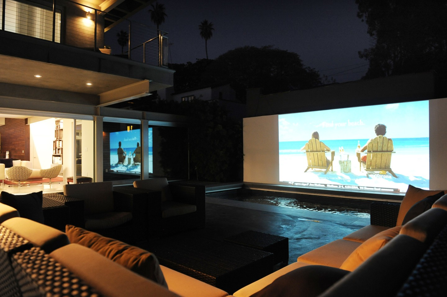 outdoor cinema with pool
