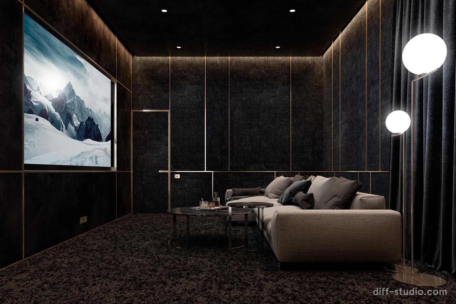 sophisticated dark home cinema design