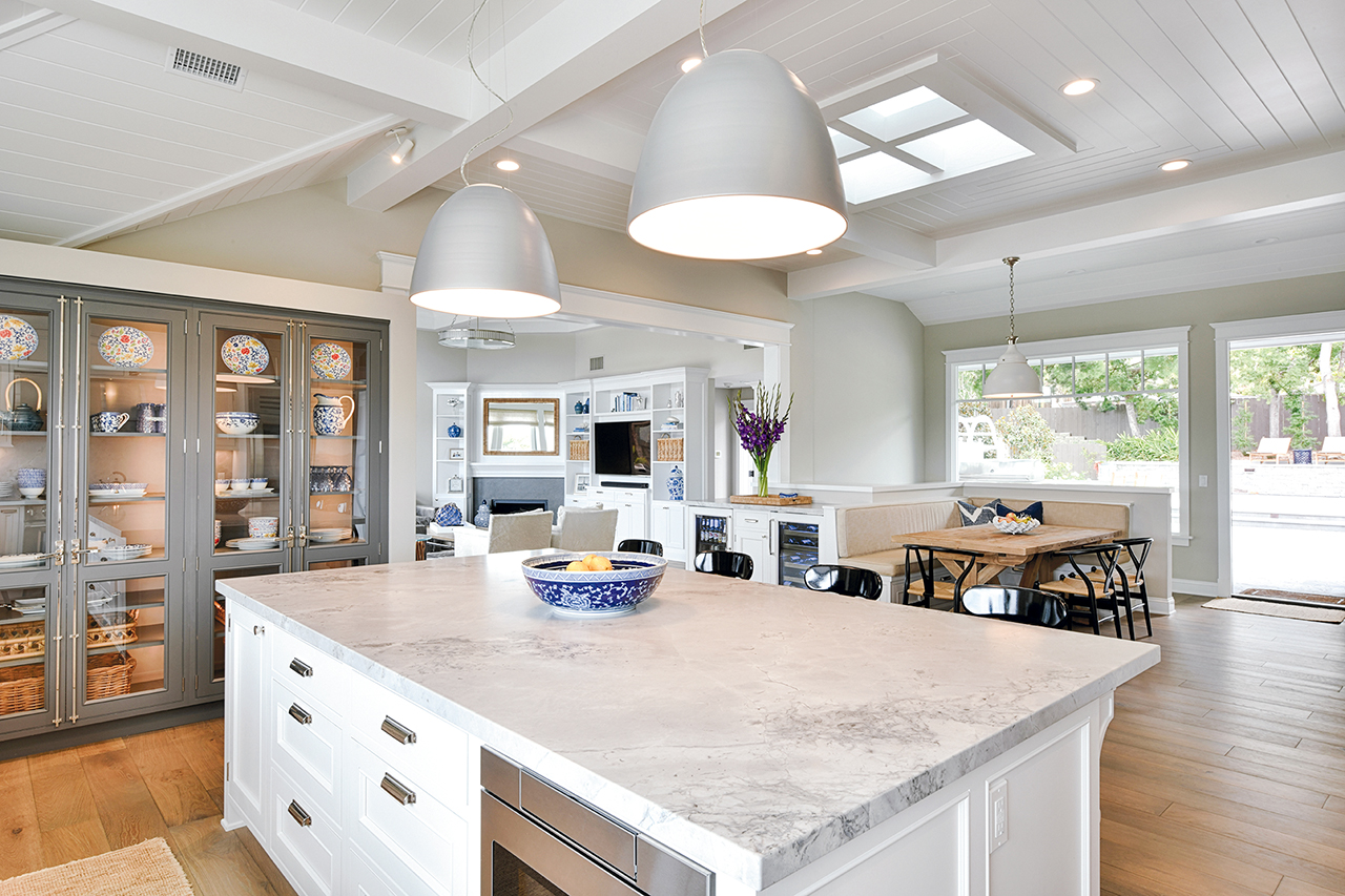 hamptons kitchen and dining with open layout