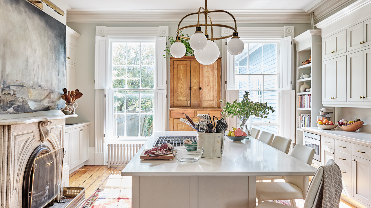 hamptons kitchen and dining area with grey colour palette