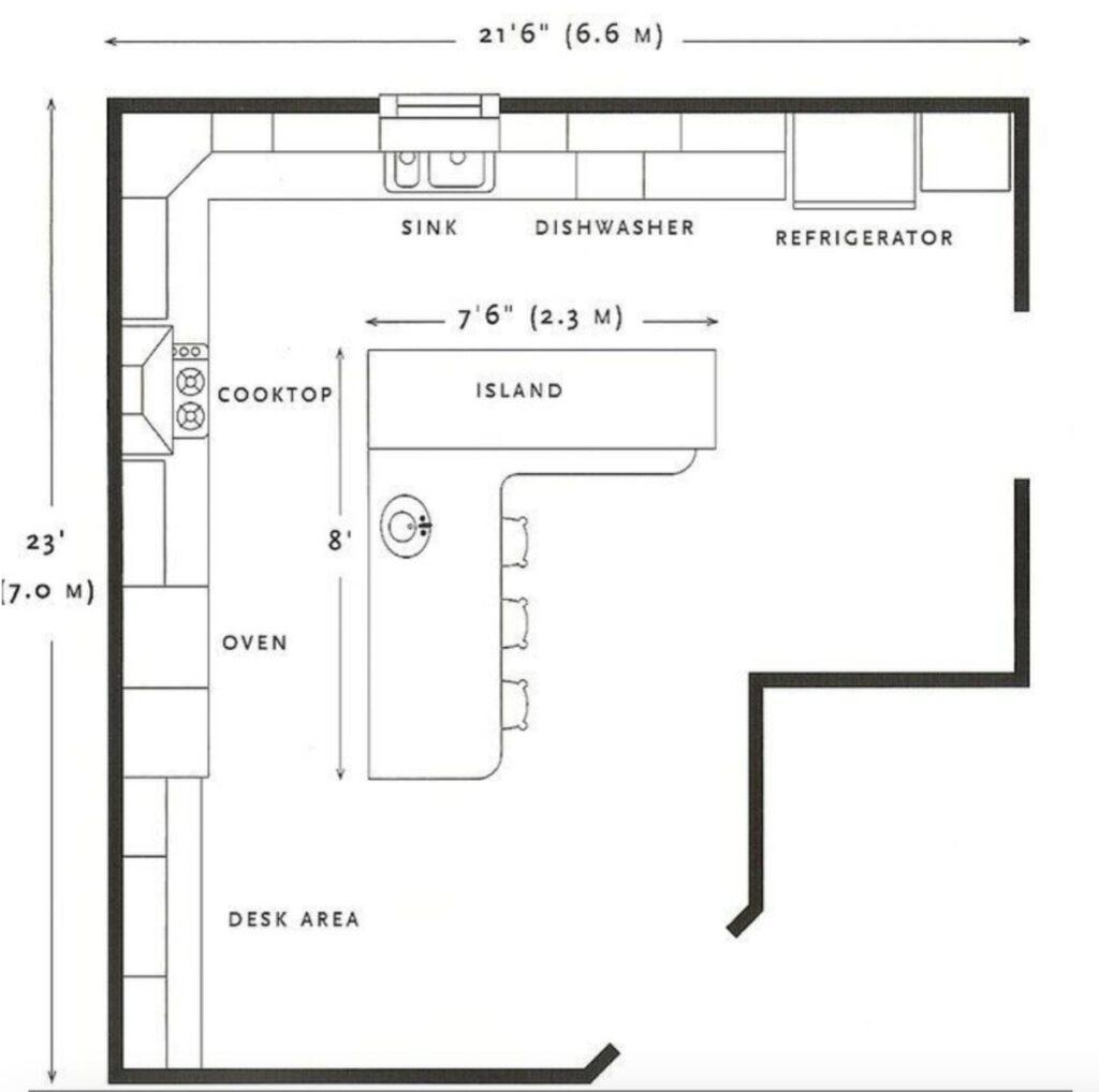 open plan hamptons kitchen floor plan