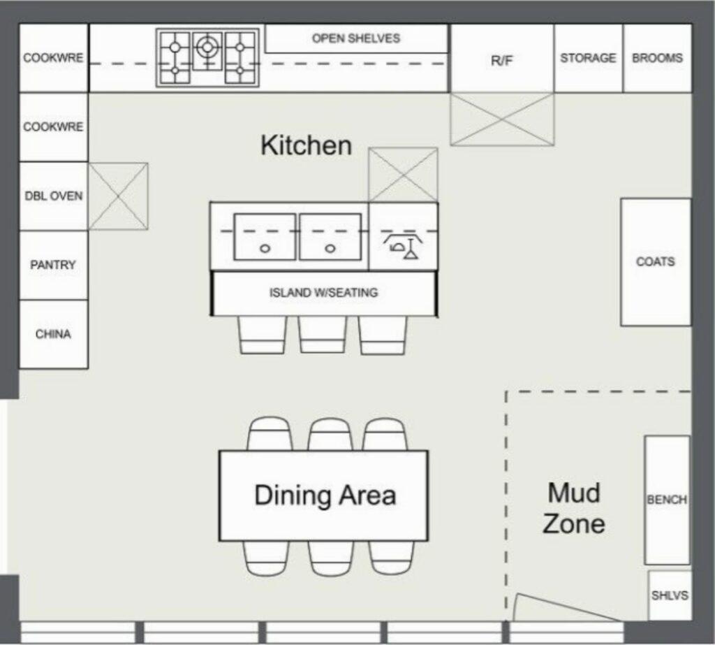 hamptons kitche floor plan design