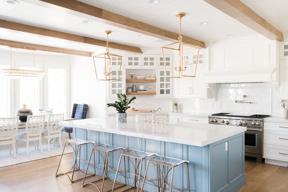 cooking and dining space with blue accents