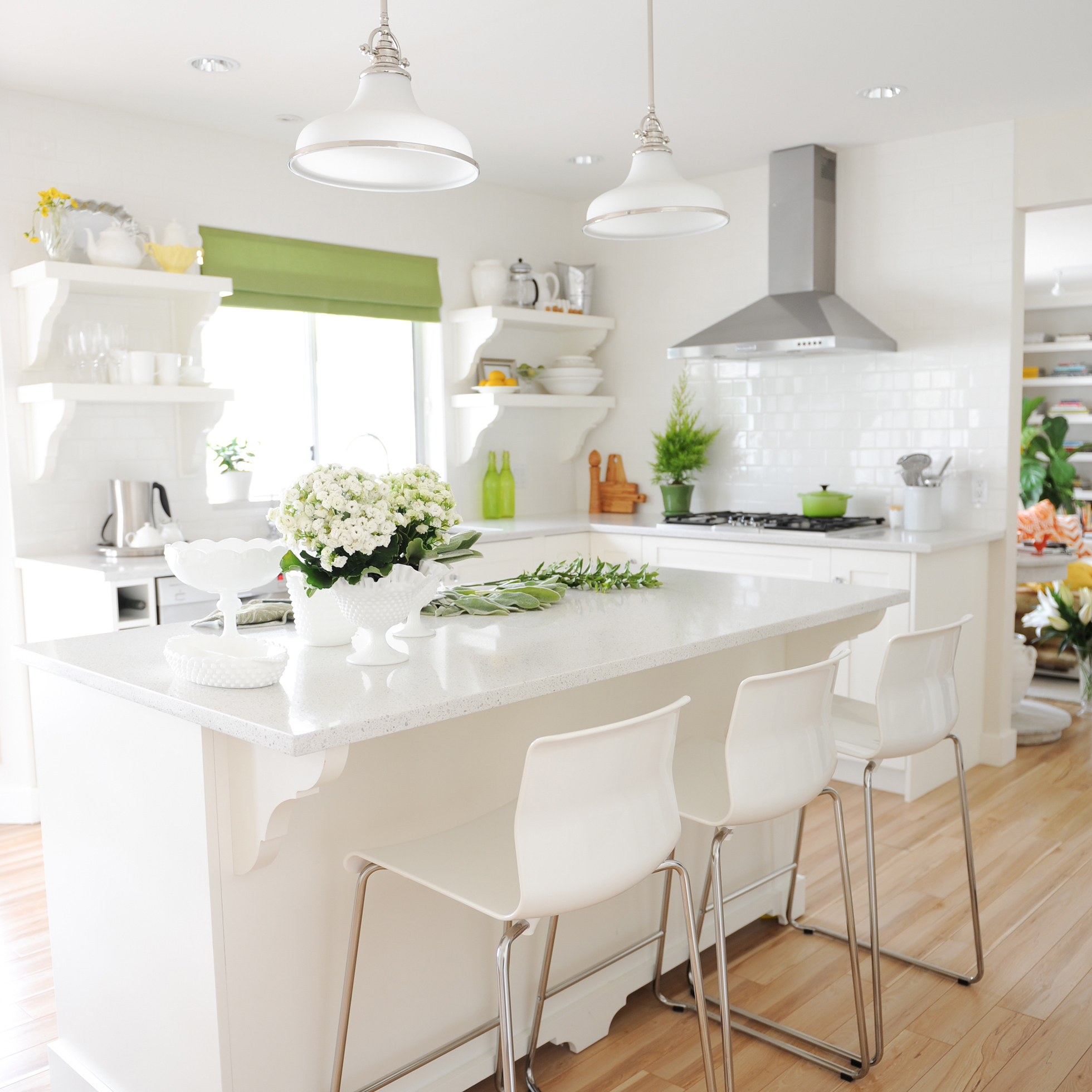 hamptons kitchen with light green accents