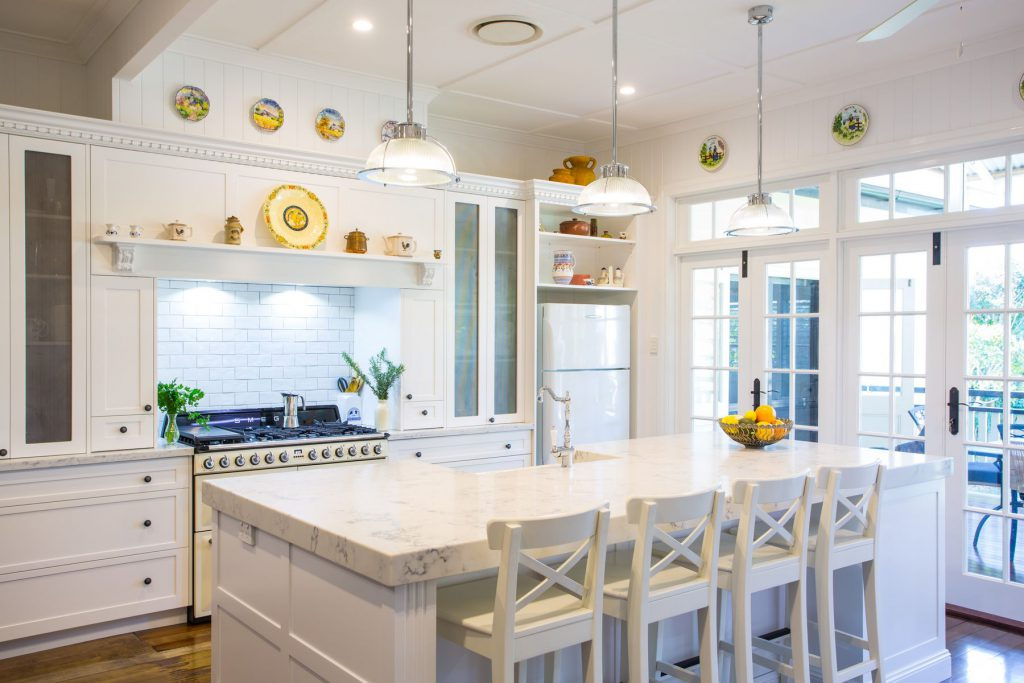 classic white kitchen with glass doors