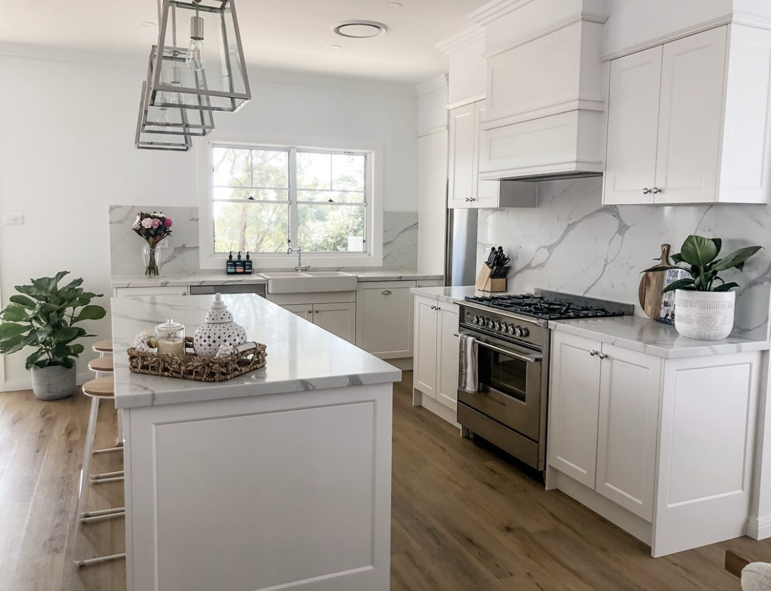homey kitchen with natural stone benchtop